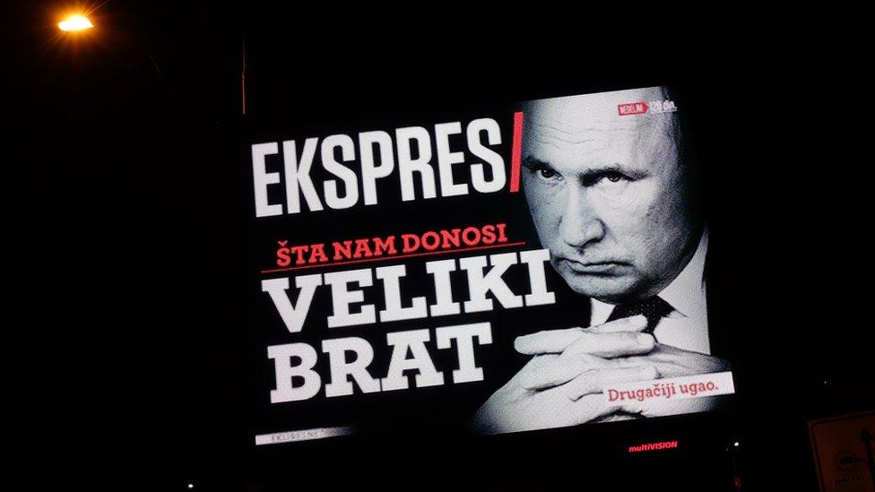 Reklama s obrazom Putina