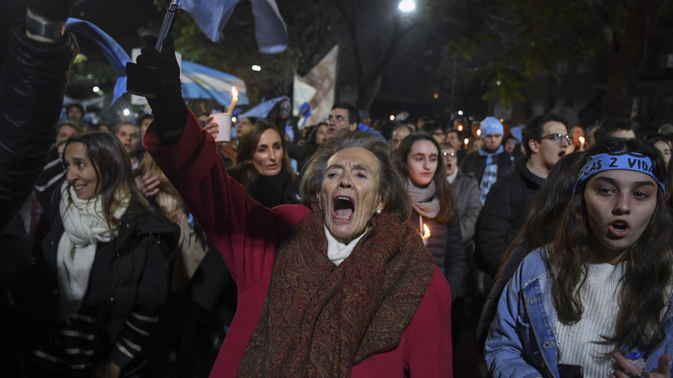 Manifestante en Argentina