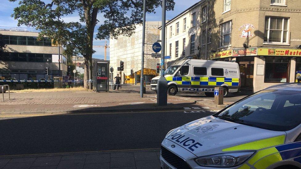 Police cordon at Rose Lane car park, Norwich