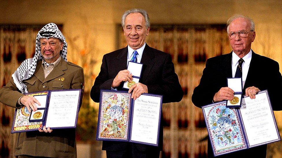 Arafat, Peres y Rabin