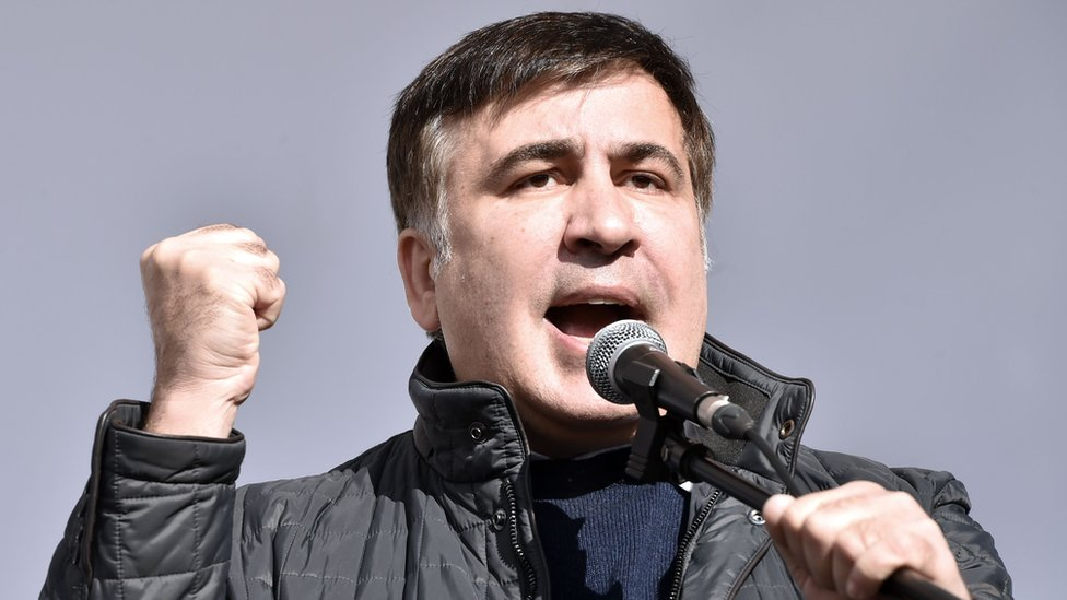 Ukrainian politician Mikheil Saakashvili delivers a speech during an opposition rally in front of the Ukrainian parliament in Kiev on October 22, 2017.
