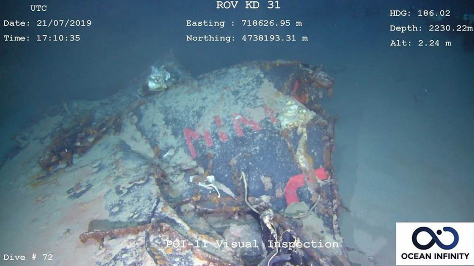 A handout photo made available by the French Navy and the Defense Ministry shows an underwater image of part of a wreckage of the Minerva submarine as seen from a Remotely Operated underwater Vehicle (ROV), off the coast of Toulon, France, 21 July 2019