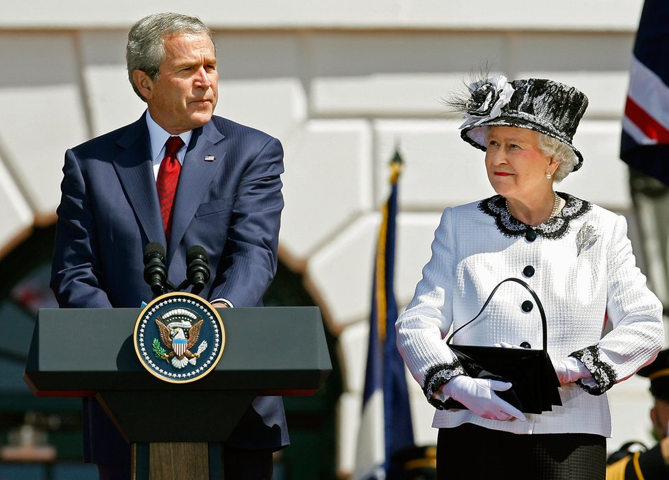 President George W Bush welcomes the Queen during an arrival ceremony on the south lawn of the White House May 7, 2007 in Washington, DC