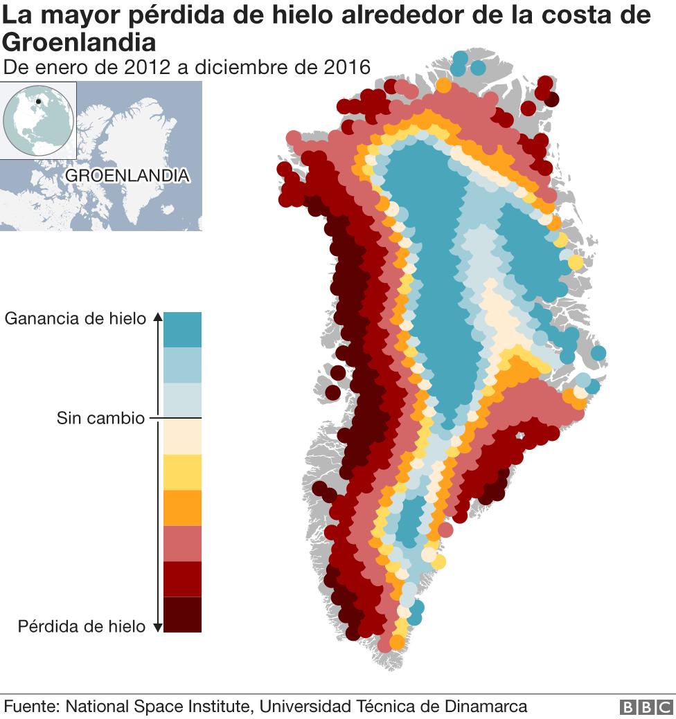 Gráfico sobre la pérdida de hielo en Groenlandia