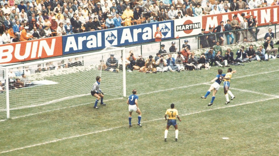 Pele opens the scoring in Brazil's 4-1 final win over Italy