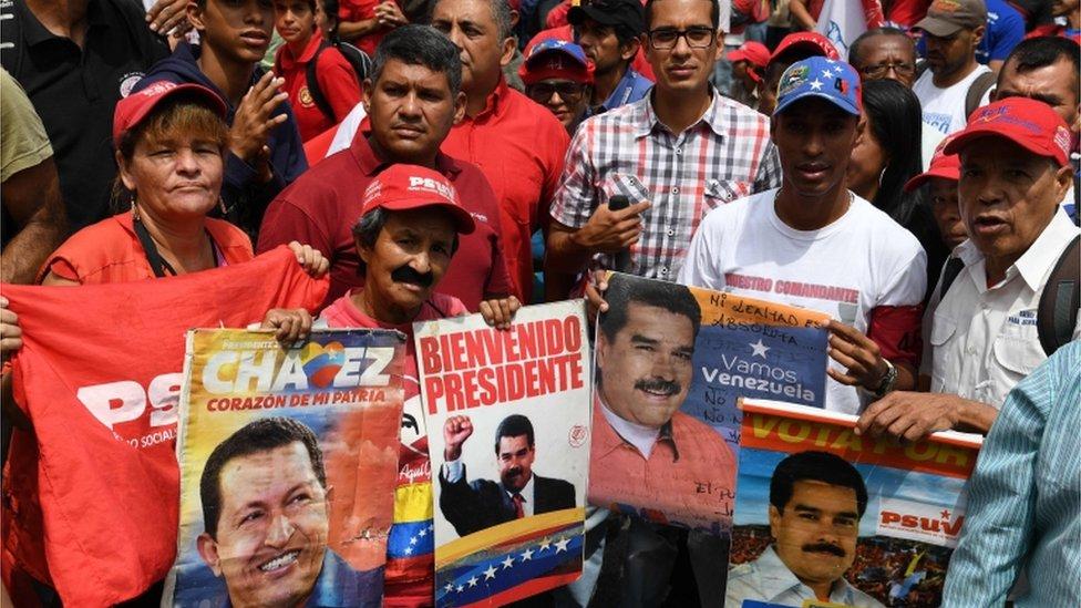 Pro-government demonstrators in Venezuela, May 2019