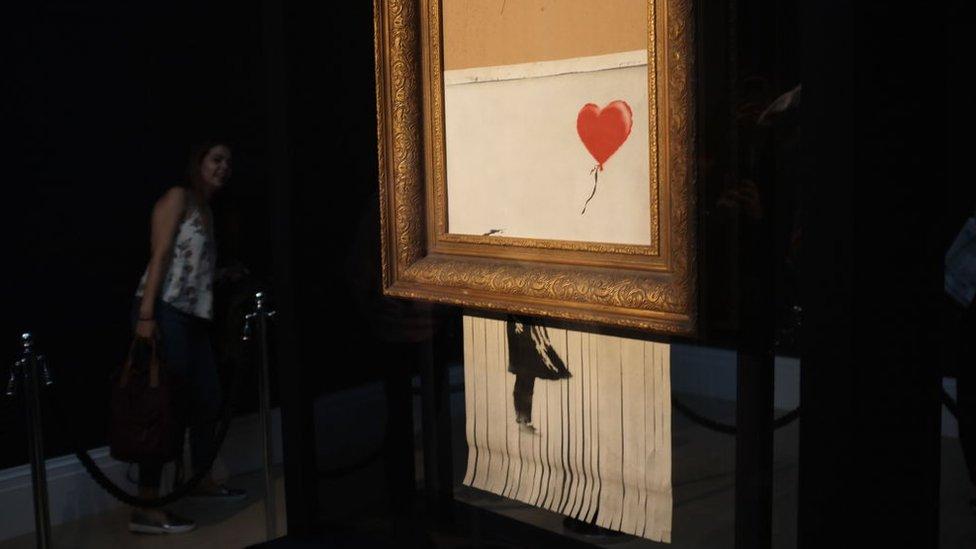Obra de Banksy que se autodestruyó.