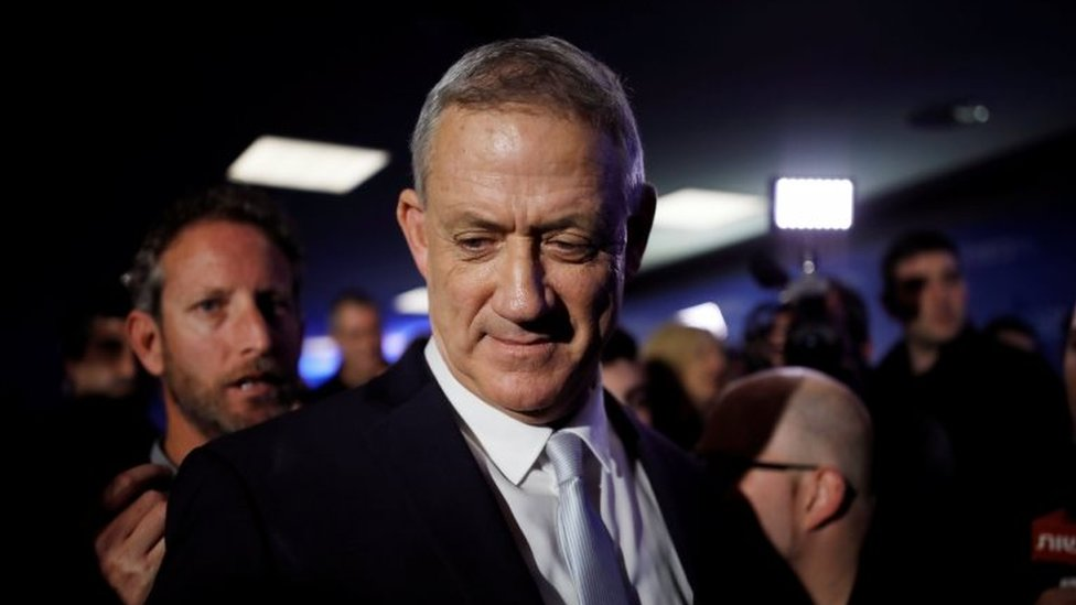 Benny Gantz, head of Resilience party is seen after a news conference, in Tel Aviv, Israel on 21 February 2019.