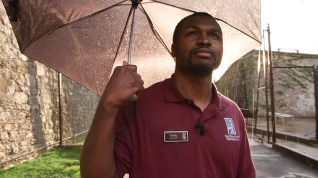 Russell Craig acts as a tour guide at Eastern State Penitentiary