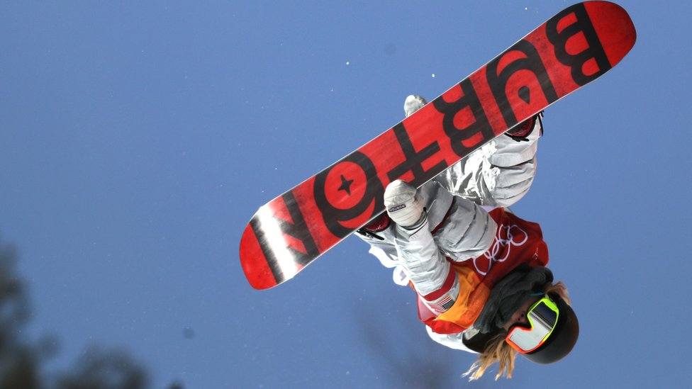 Chloe Kim in action during the Women's Snowboard Halfpipe final in Pyeongchang