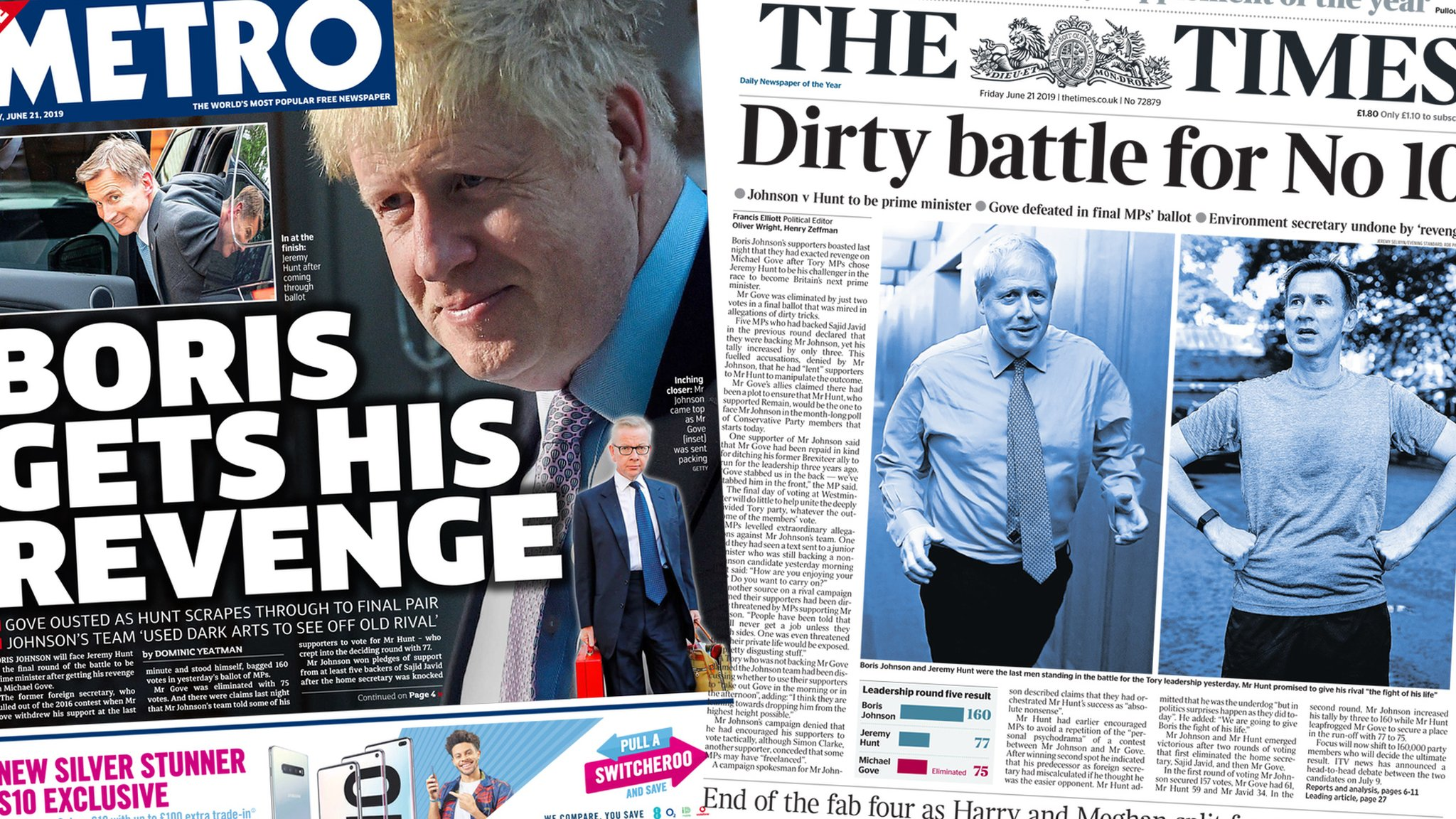 The Papers: 'Revenge is sweet' in race for Number 10