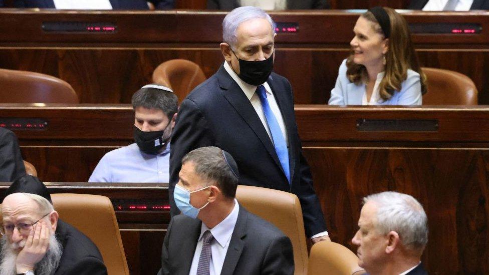 Netanyahu, durante la sesión parlamentaria de este domingo.
