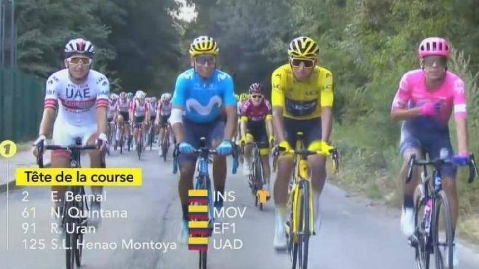 Sergio Henao, Nairo Quintana y Rigoberto Urán escoltan a Egan Beranl durante la última etapa del Tour.