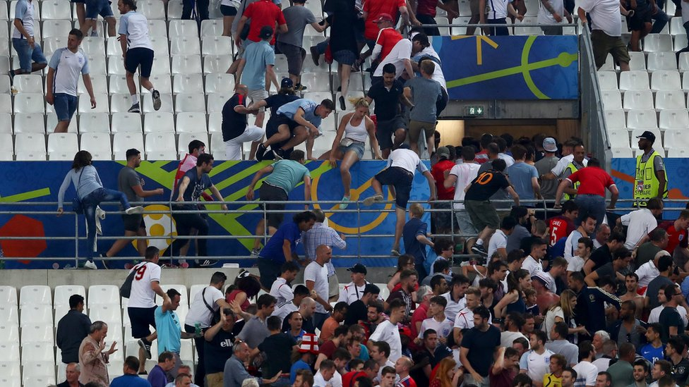 England fans fleeing stadium