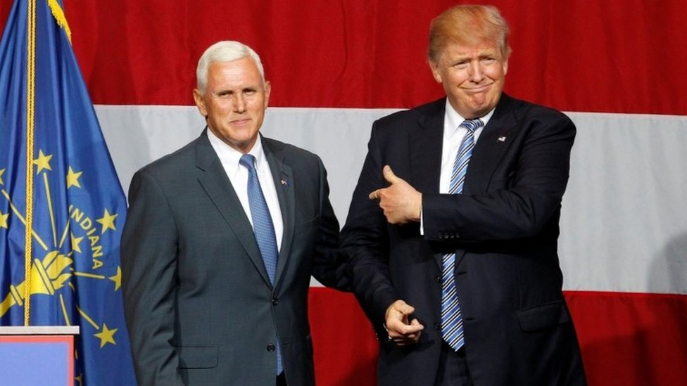 Republican presidential candidate Donald Trump (R) and Indiana Governor Mike Pence (L) during a campaign stop.
