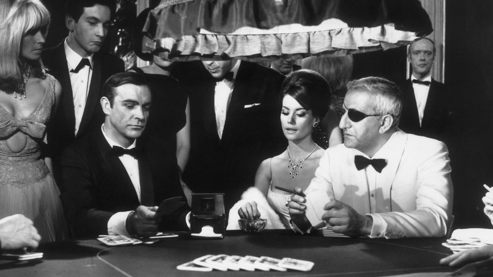 "A scene from the James Bond film ""Thunderball"" with Sean Connery, Claudine Auger and Adolfo Celi"