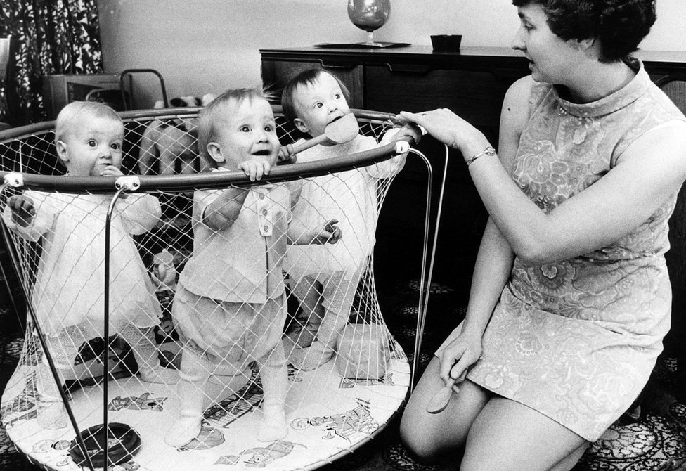 Sheila Thorns seen with three of her sextuplets in 1969