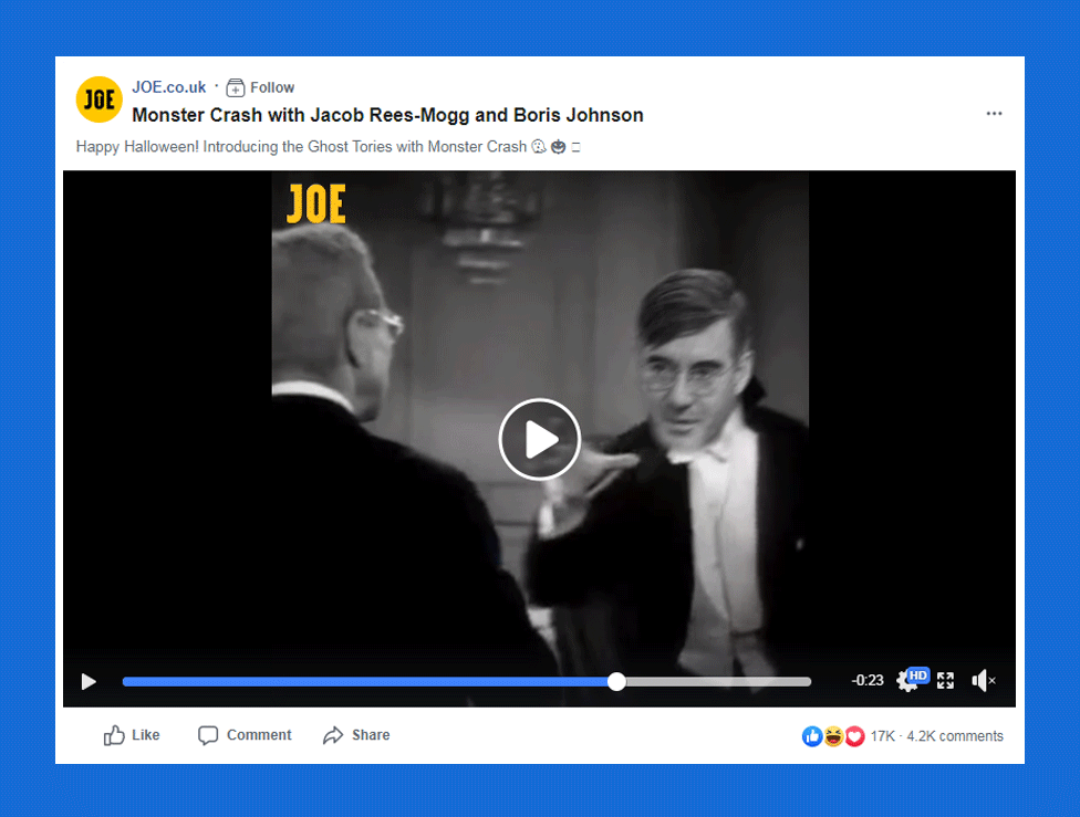 A screenshot from the joe.co.uk Facebook page