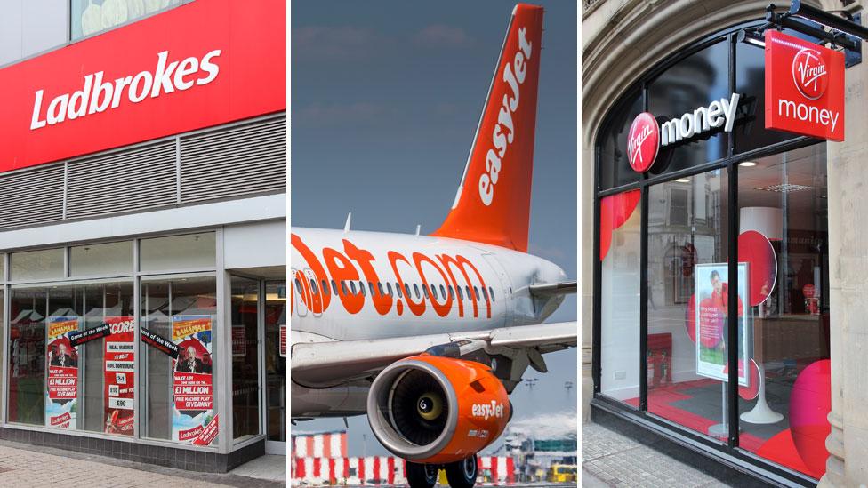 Signs for Ladbrokes, EasyJet and Virgin Money