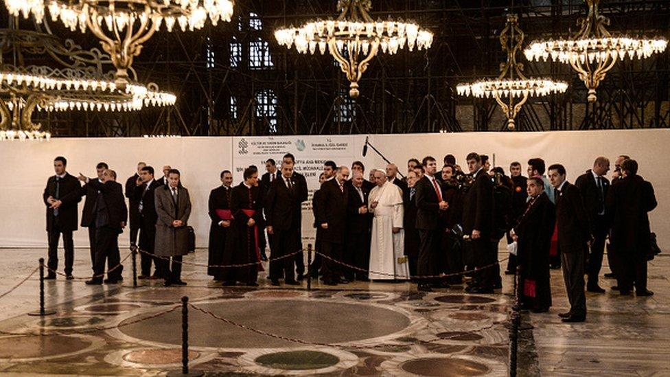 2014'te Papa Francis, İstanbul ziyareti sırasında Ayasofya'yı da gezdi