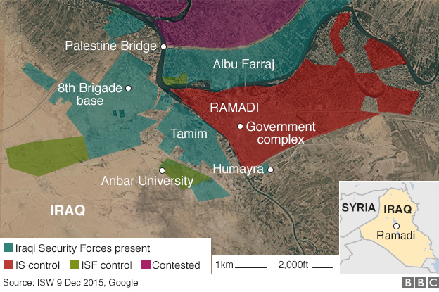 Map of Ramadi showing control by Islamic State militants