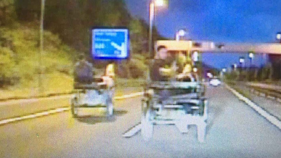 Men caught riding horse and trap on M4 near Port Talbot