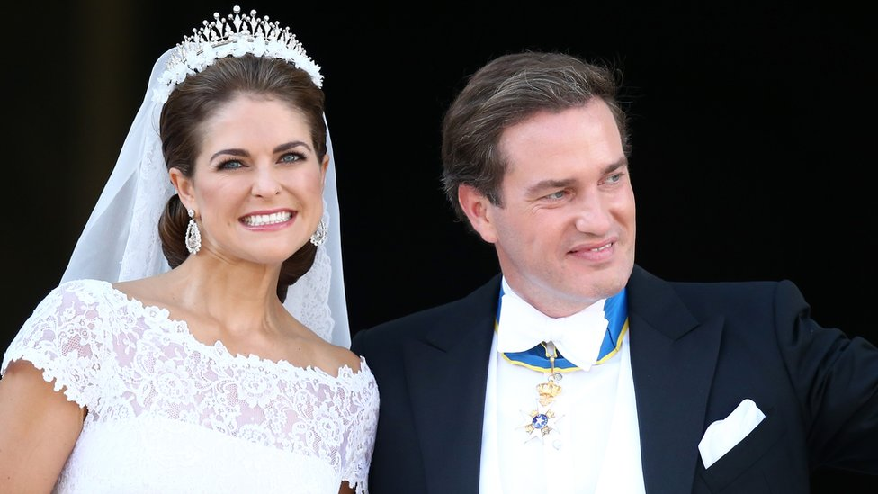 Princess Madeleine of Sweden and Christopher O'Neil leave their wedding ceremony in June, 2013.