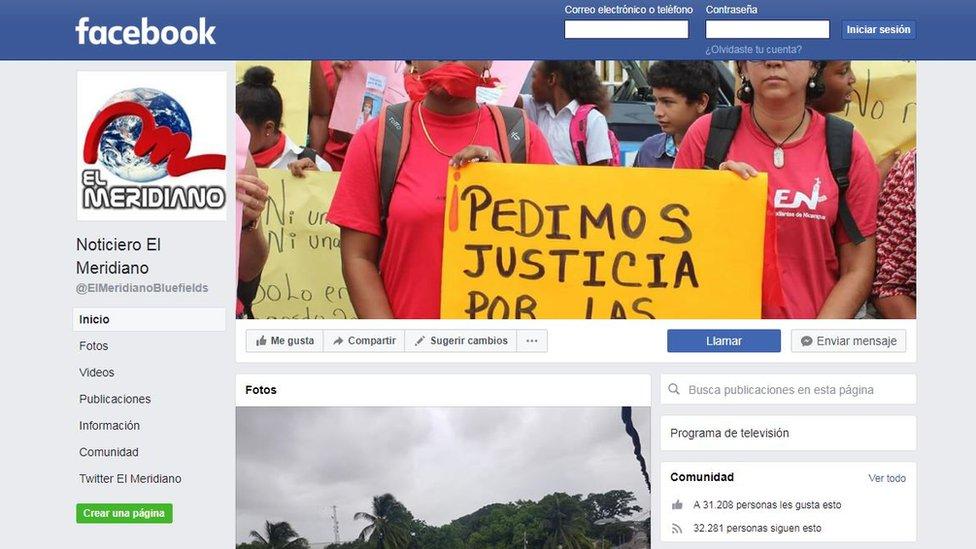 Cuenta de Facebook de El Meridiano