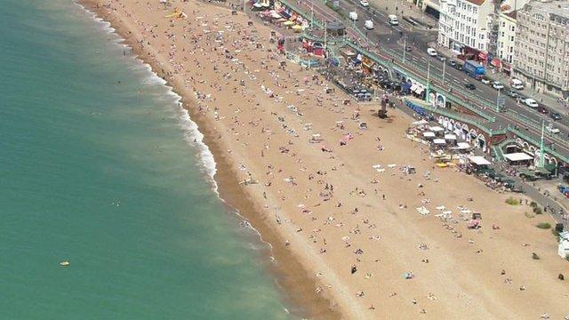 Aerial view of Brighton beach
