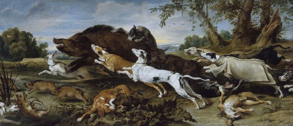 Boar Hunt (about 1625-30) by the Flemish artist, Frans Snyders
