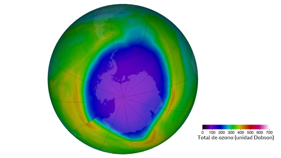 Agujero de ozono el 6 de octubre de 2020. Ilustración