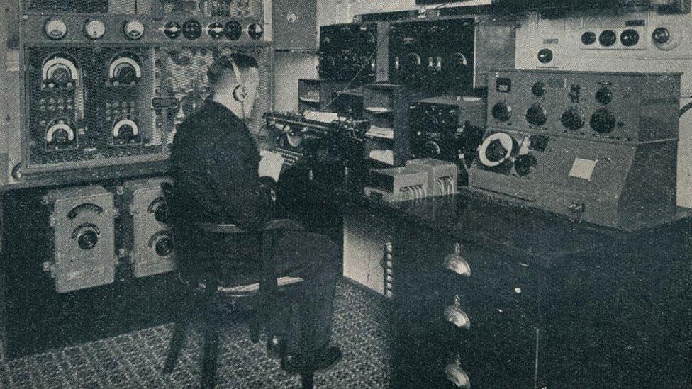 Un sistema Marconi en otro barco en 1934.