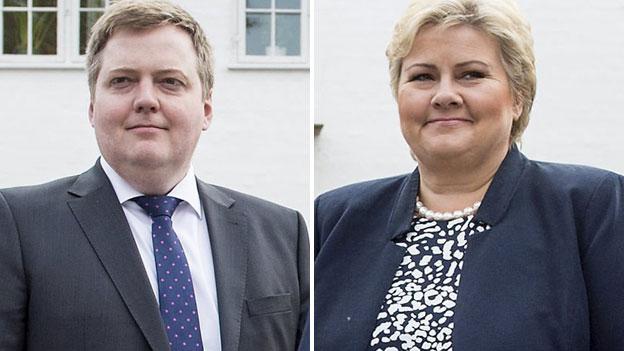 Iceland PM Sigmundur Gunnlaugsson and Norway PM Erna Solberg