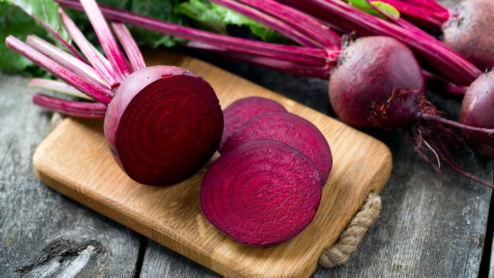 A sliced beetroot