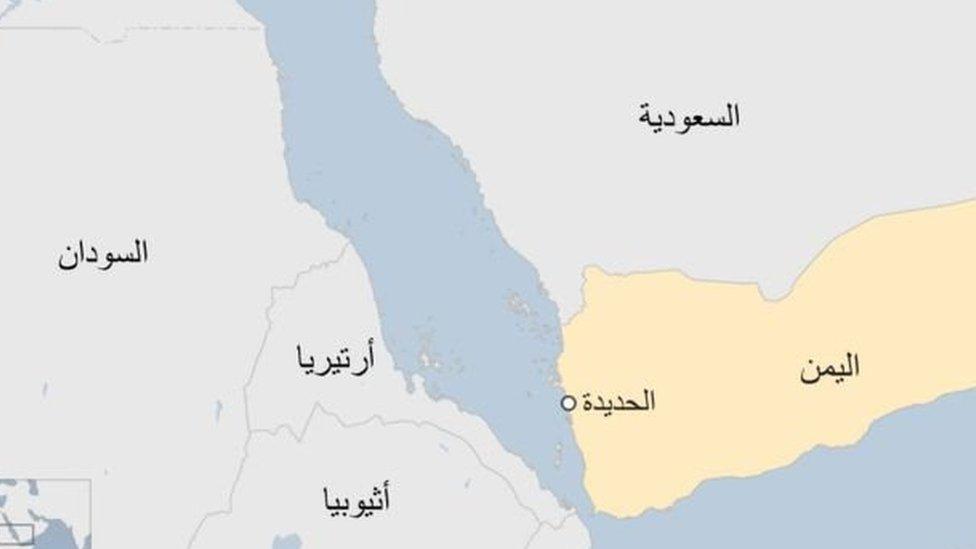 خريطة لموقع ميناء الحديدة اليمني