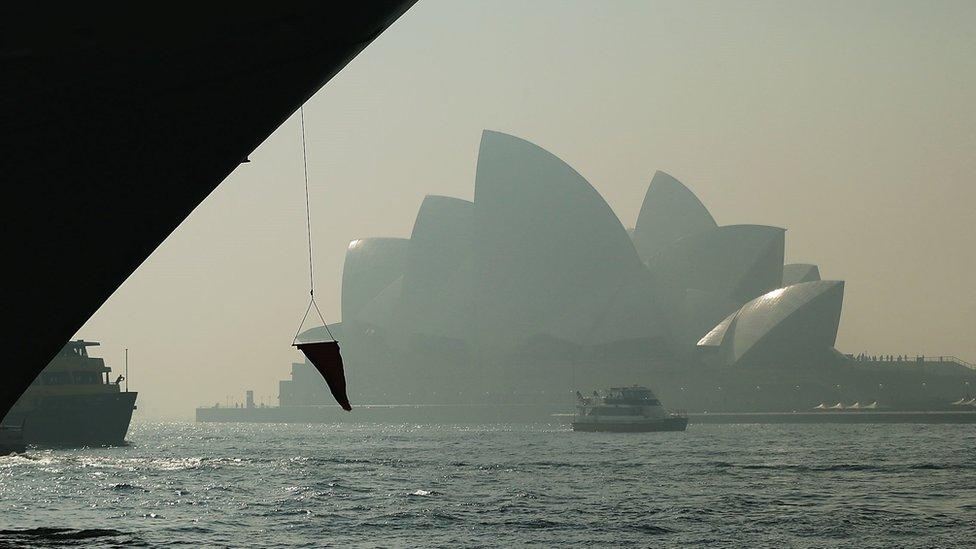 Photograph of the Sydney Opera House taken under the Harbour Bridge