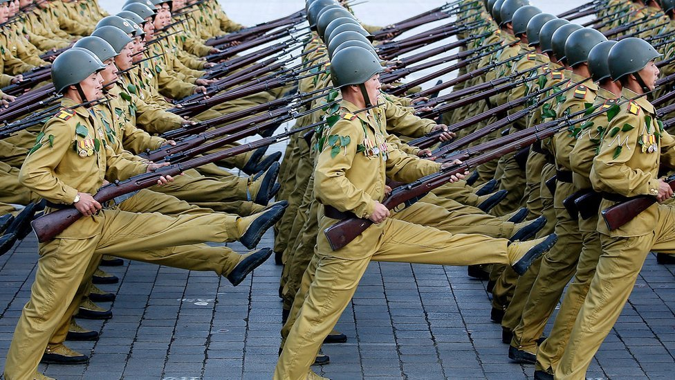 On Saturday, Oct. 10, 2015, North Korean soldiers march across the Kim Il Sung Square during a military parade in Pyongyang, North Korea.