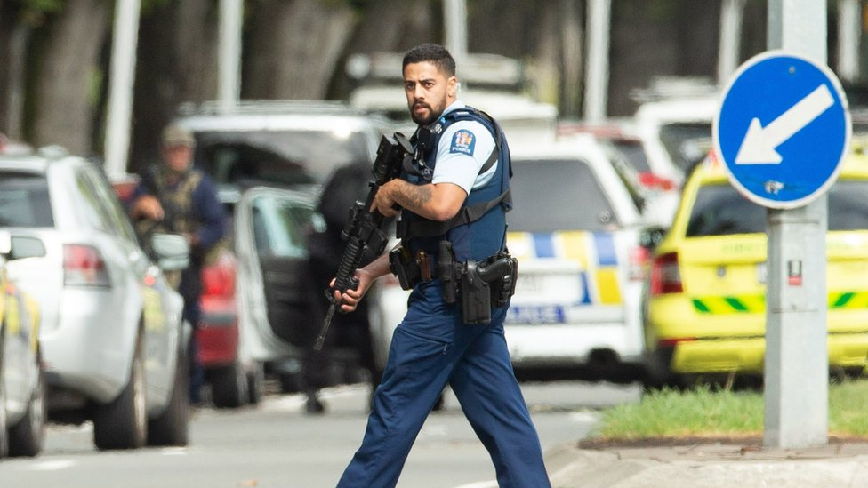 Armed police patrol following a shooting resulting in multiply fatalities and injuries at the Masjid Al Noor on Deans Avenue in Christchurch, New Zealand, 15 March 2019.