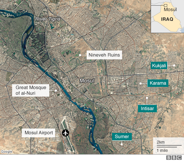 Map showing key locations in Mosul