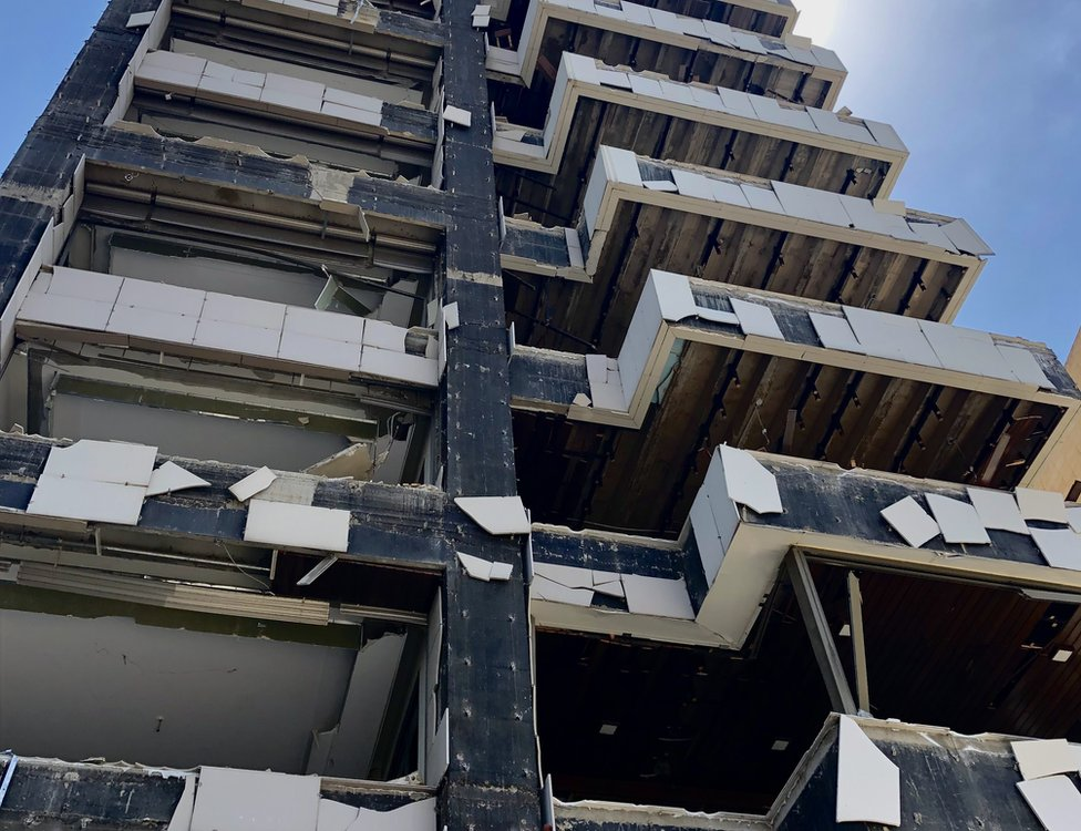 The damaged Côte Building in Beirut, Lebanon