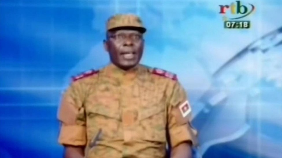 In this frame taken from RTB television, Lieutenant Colonel Mamadou Bamba, Presidential Security Regiment (RSP) spokesperson speaks on national television in Burkina Faso, Thursday 17 September 2015
