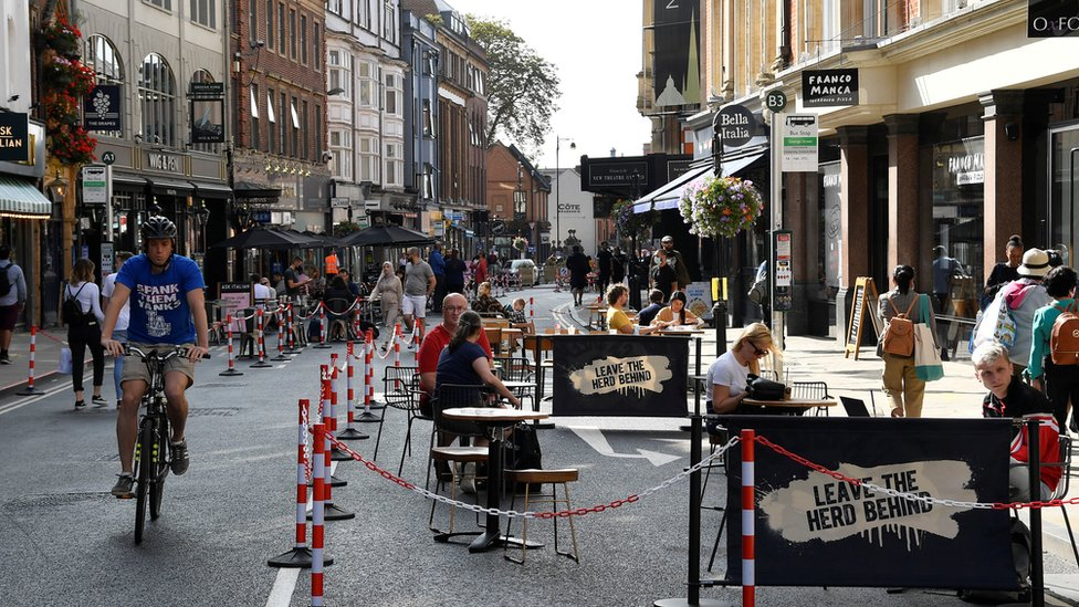 General view of a road that has been pedestrianised to encourage social distancing and outdoor dining in the city centre, amidst the coronavirus disease (COVID-19) pandemic, in Oxford, Britain