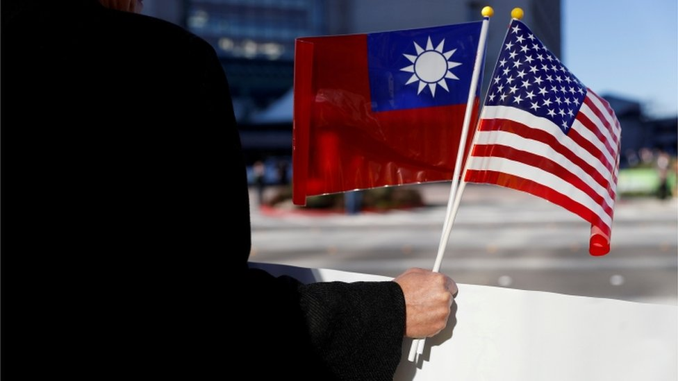 台灣與美國旗