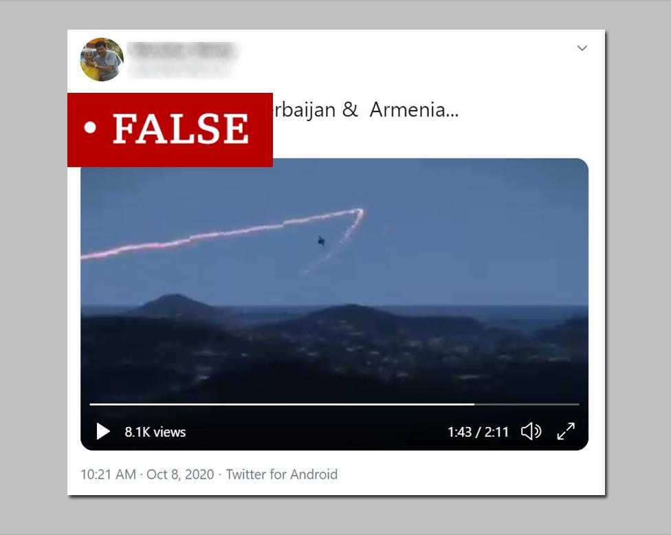 A screenshot of a false tweet