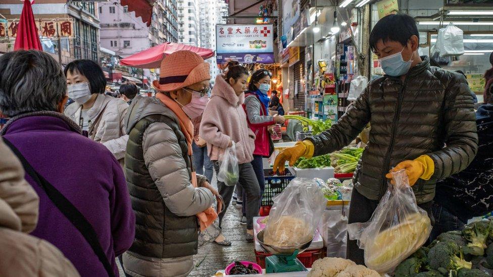 Mercado de alimentos en Hong Kong.