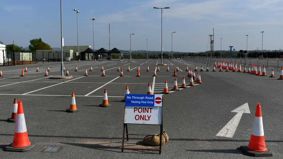 Drive-through test centre in Exeter