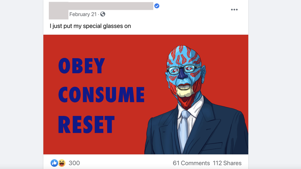 Screenshot of a Great Reset meme on Facebook