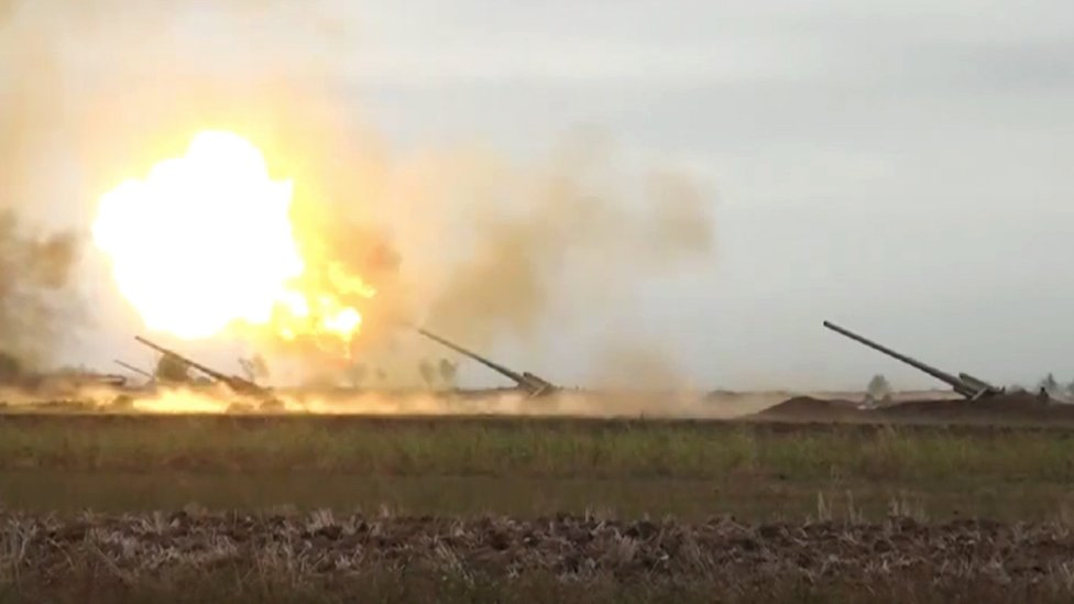 An image shared by Azerbaijan's Ministry of Defence, firing missiles towards Armenian positions