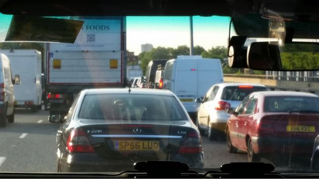 Traffic queues on the Westway