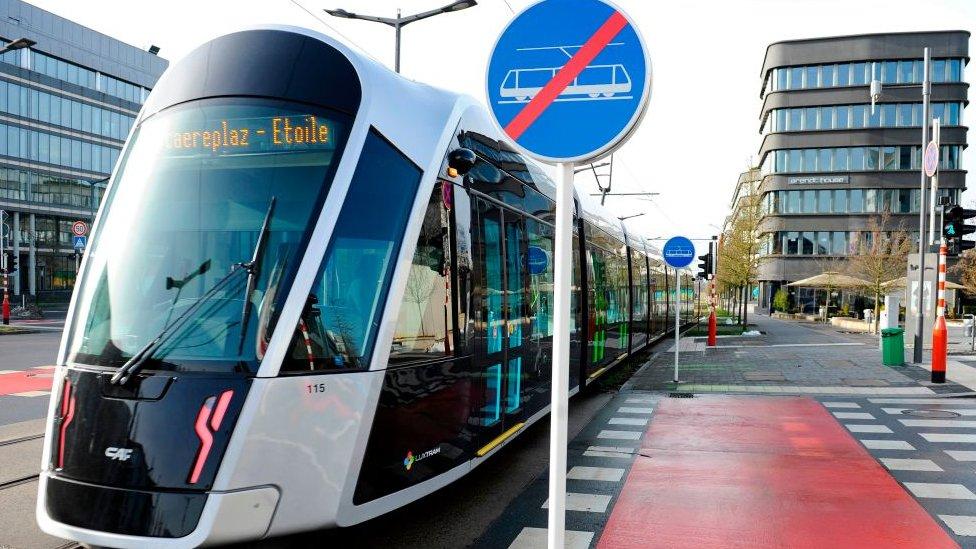 Tranvía en Luxemburgo.